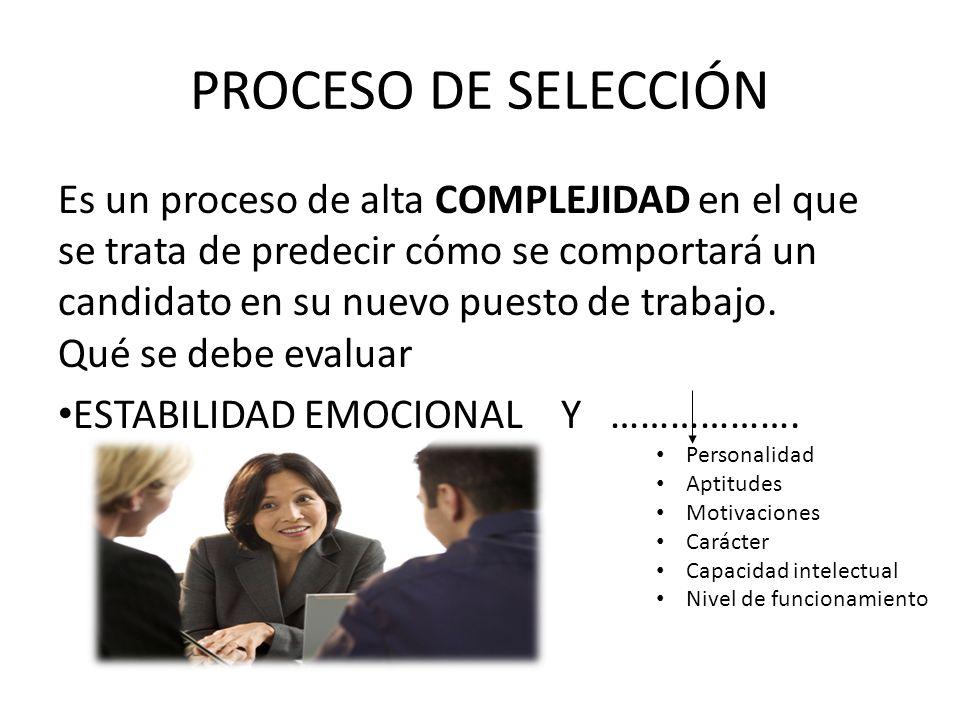 PROCESO DE SELECCIÓN Es un proceso de alta COMPLEJIDAD en el que se trata de predecir cómo se comportará un candidato en su nuevo puesto de trabajo.
