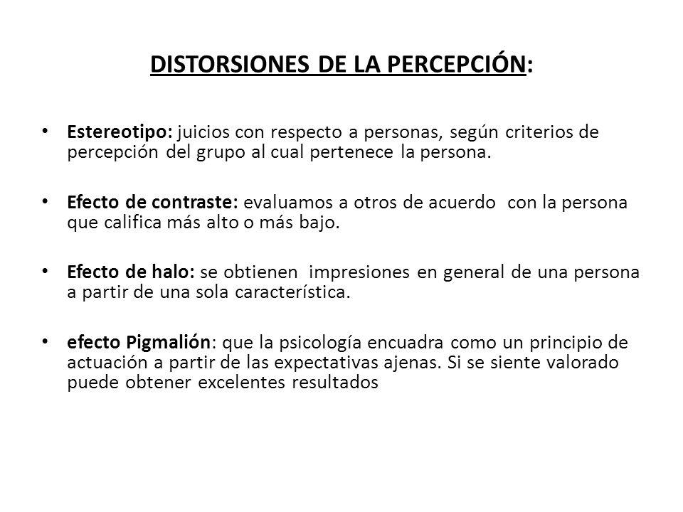 DISTORSIONES DE LA PERCEPCIÓN: