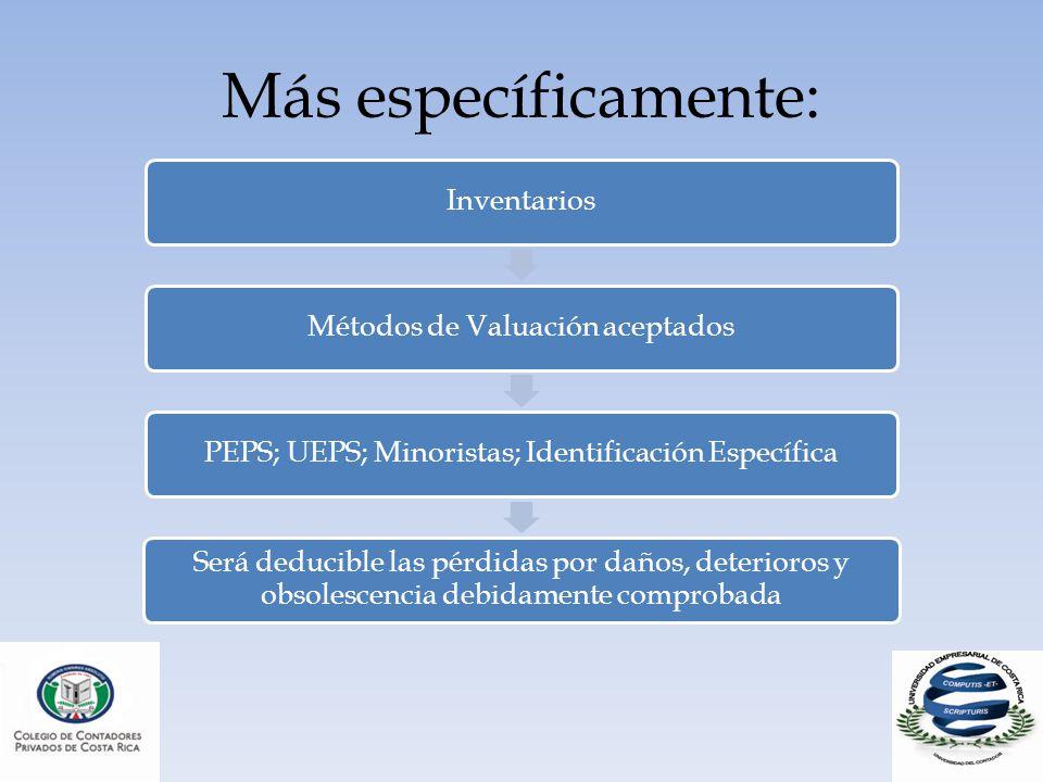 Más específicamente: Inventarios. Métodos de Valuación aceptados. PEPS; UEPS; Minoristas; Identificación Específica.