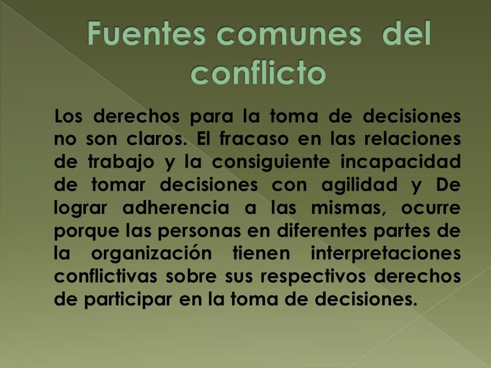 Fuentes comunes del conflicto