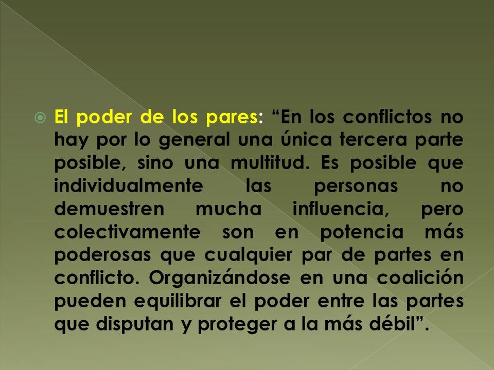 El poder de los pares: En los conflictos no hay por lo general una única tercera parte posible, sino una multitud.