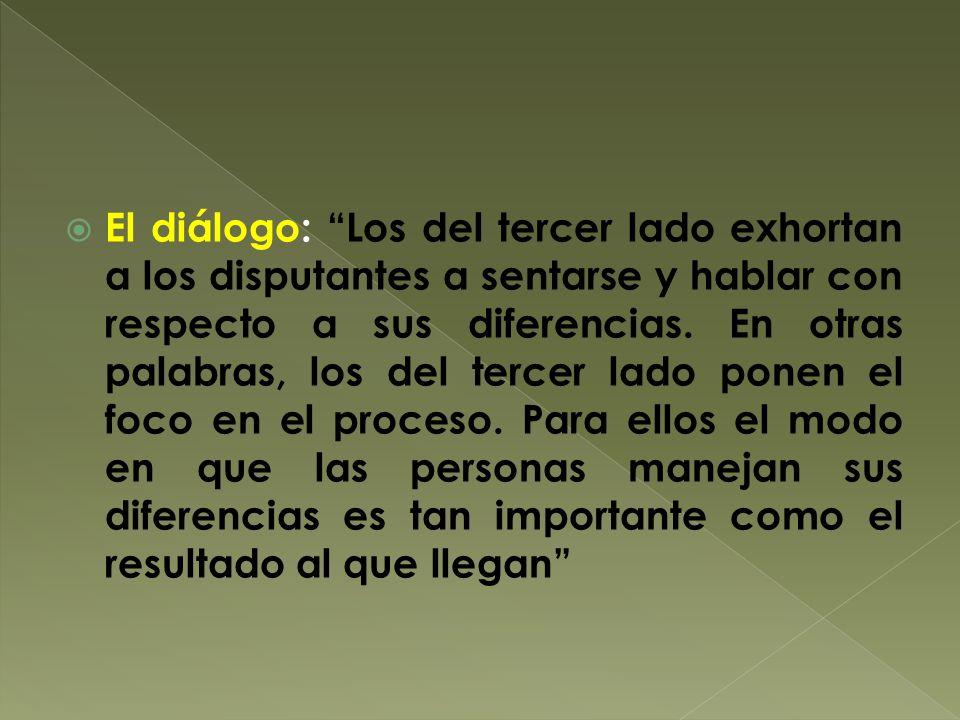 El diálogo: Los del tercer lado exhortan a los disputantes a sentarse y hablar con respecto a sus diferencias.
