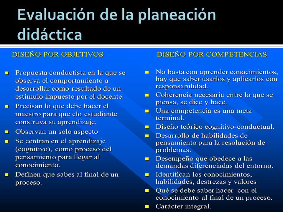 Evaluación de la planeación didáctica