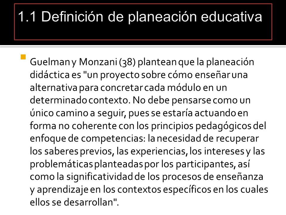 1.1 Definición de planeación educativa