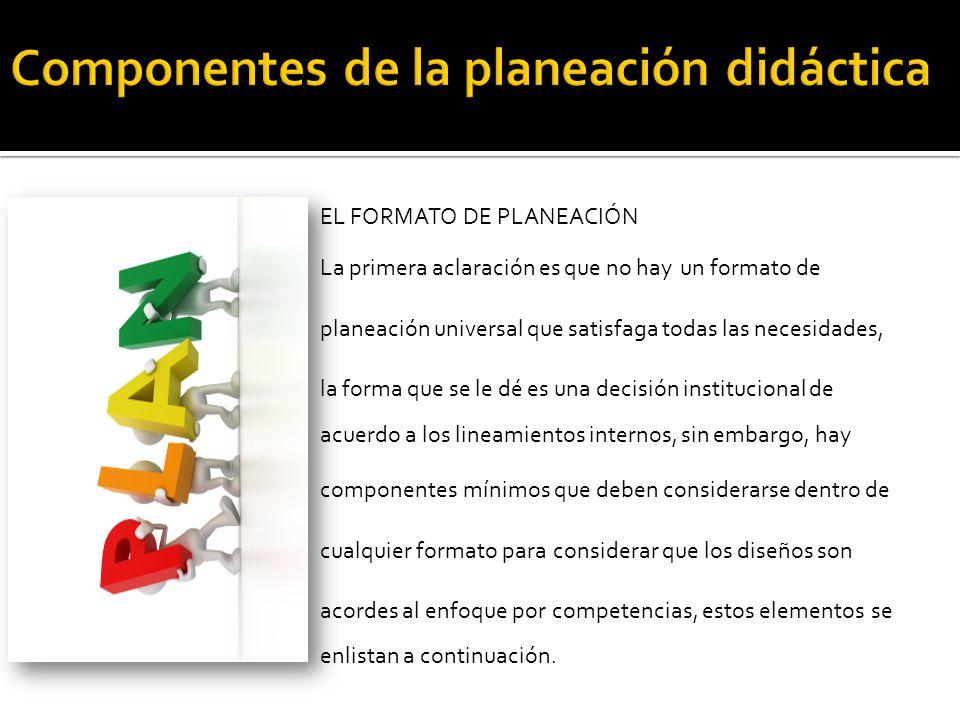 Componentes de la planeación didáctica