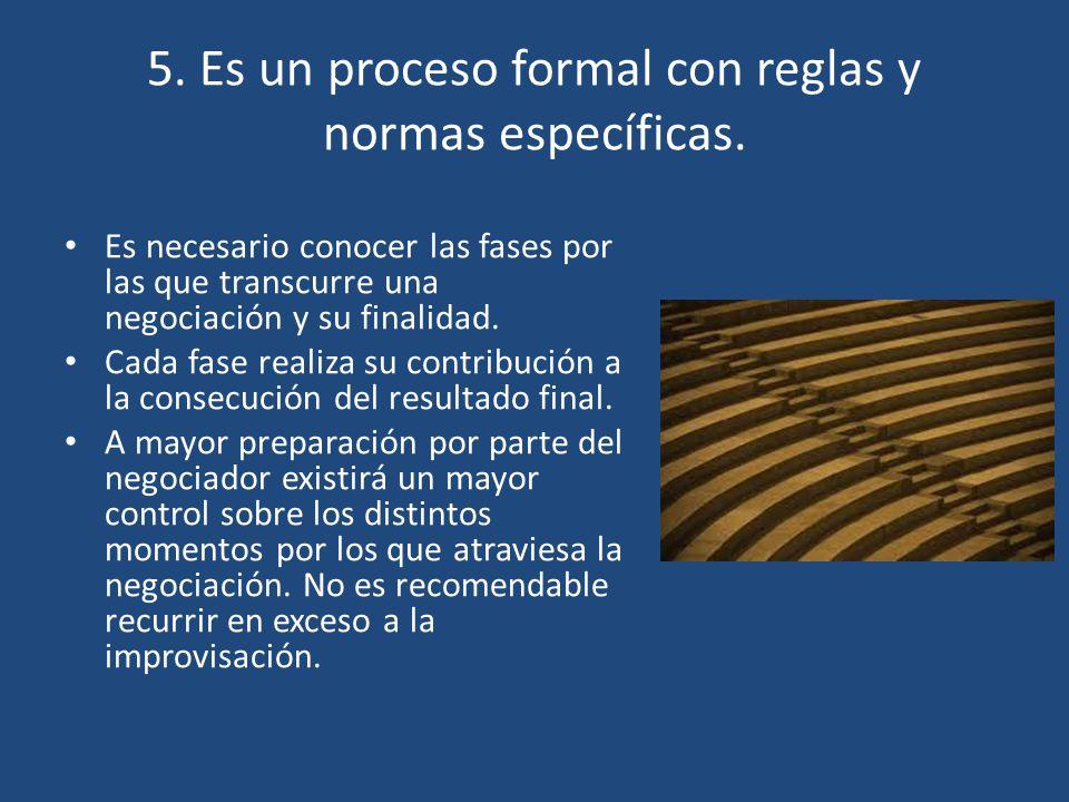 5. Es un proceso formal con reglas y normas específicas.