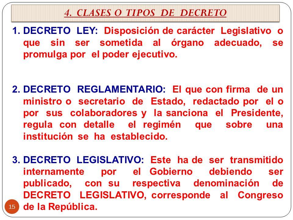 4. CLASES O TIPOS DE DECRETO