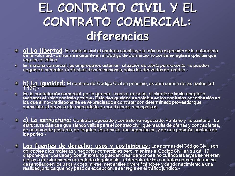 EL CONTRATO CIVIL Y EL CONTRATO COMERCIAL: diferencias