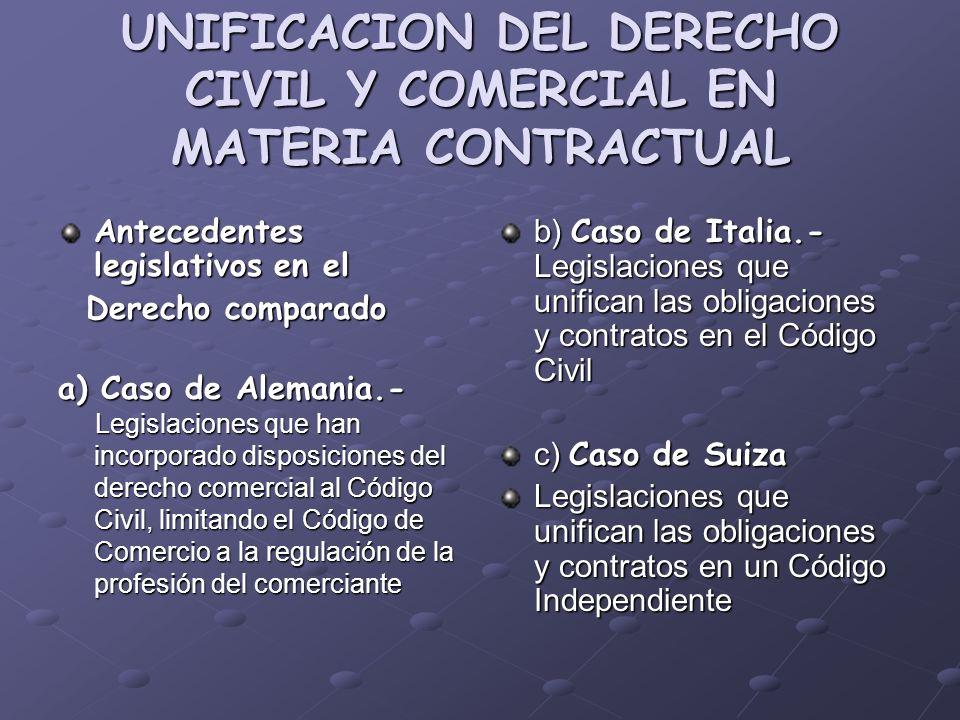 UNIFICACION DEL DERECHO CIVIL Y COMERCIAL EN MATERIA CONTRACTUAL