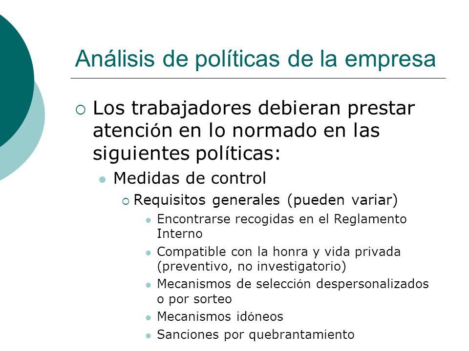 Análisis de políticas de la empresa