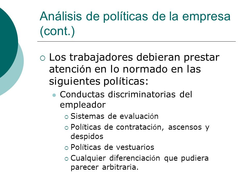 Análisis de políticas de la empresa (cont.)