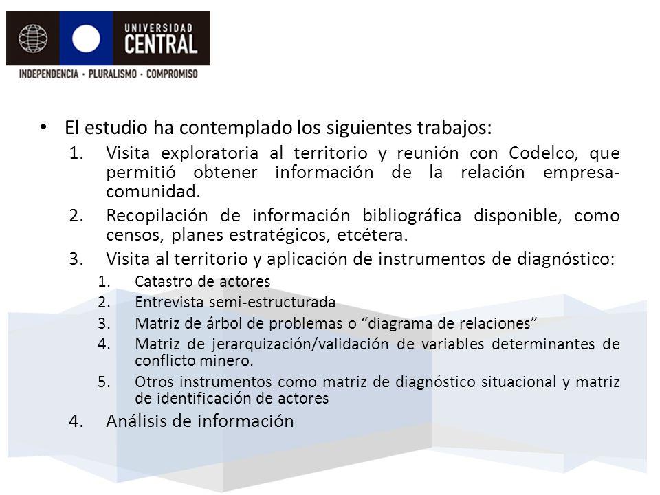 El estudio ha contemplado los siguientes trabajos: