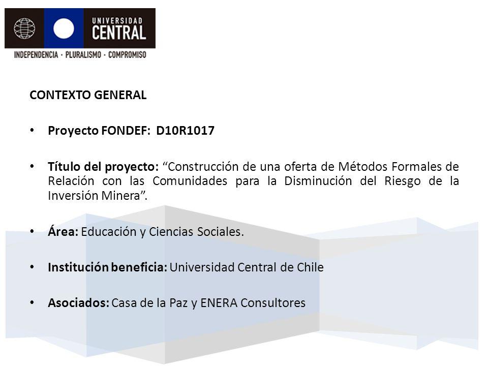 CONTEXTO GENERAL Proyecto FONDEF: D10R1017.
