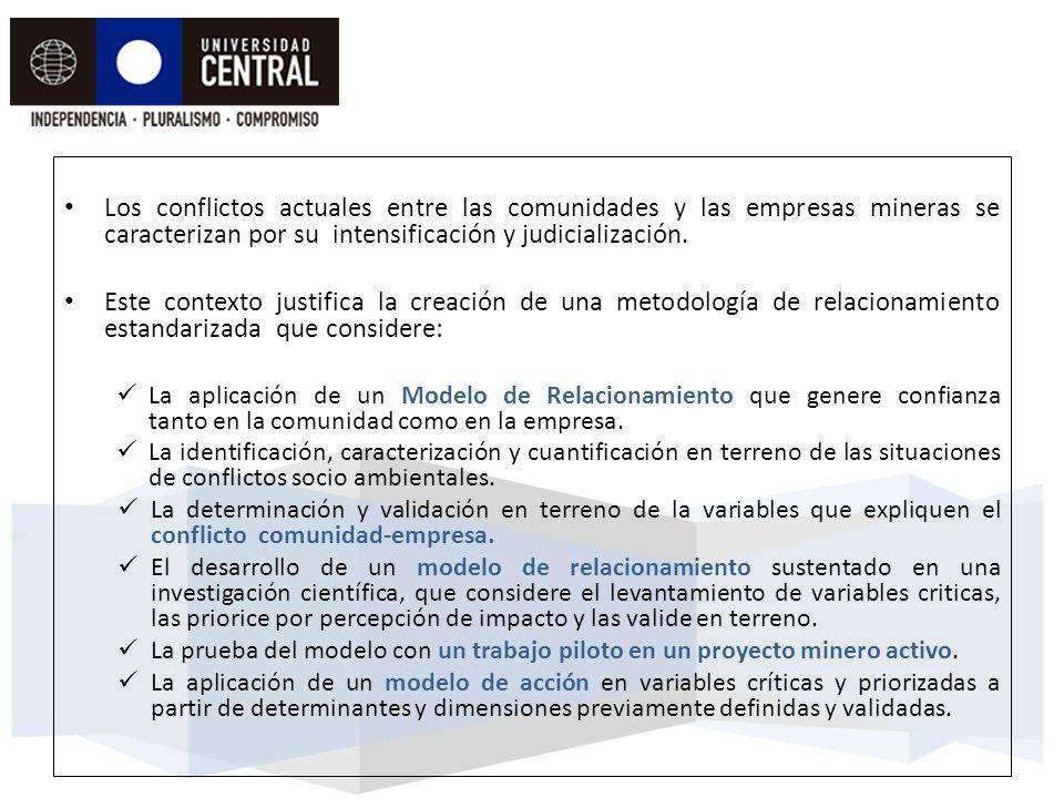 Los conflictos actuales entre las comunidades y las empresas mineras se caracterizan por su intensificación y judicialización.