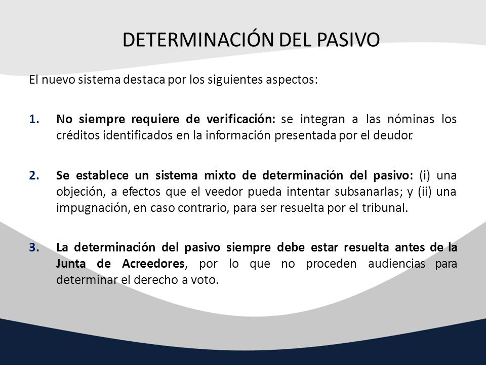 DETERMINACIÓN DEL PASIVO