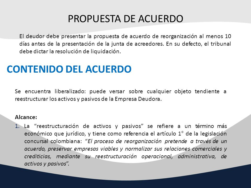 PROPUESTA DE ACUERDO CONTENIDO DEL ACUERDO