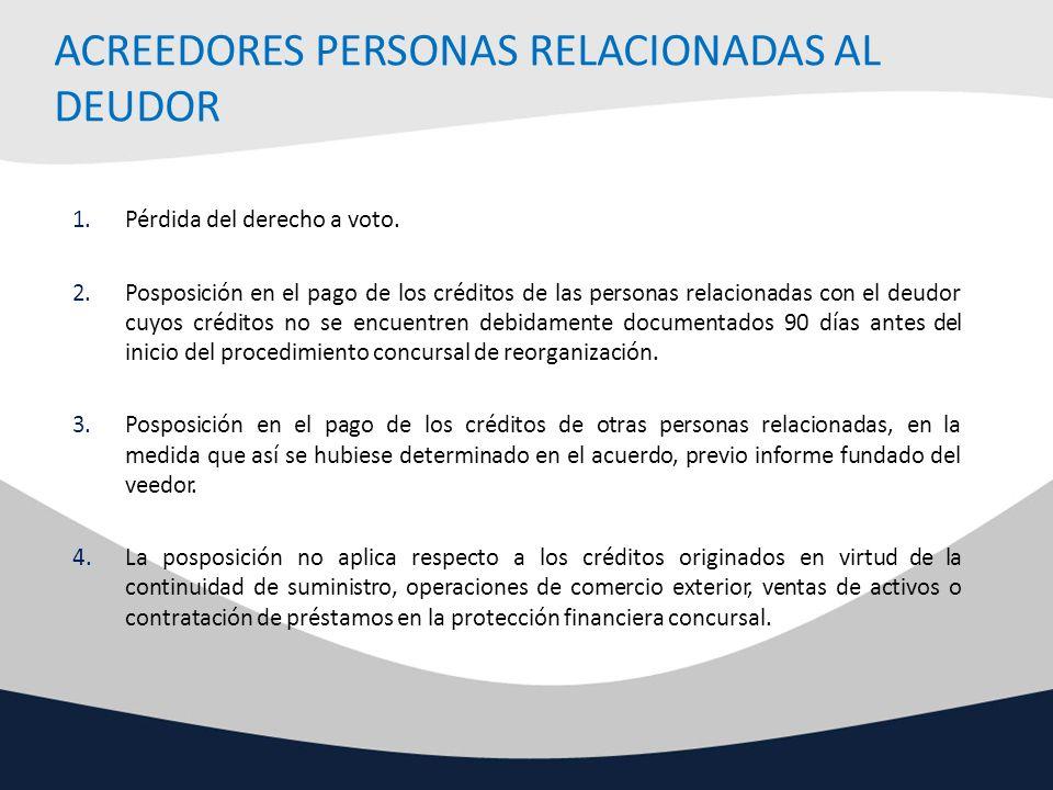 ACREEDORES PERSONAS RELACIONADAS AL DEUDOR