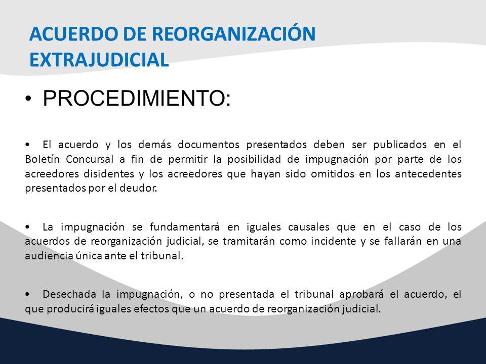 ACUERDO DE REORGANIZACIÓN EXTRAJUDICIAL