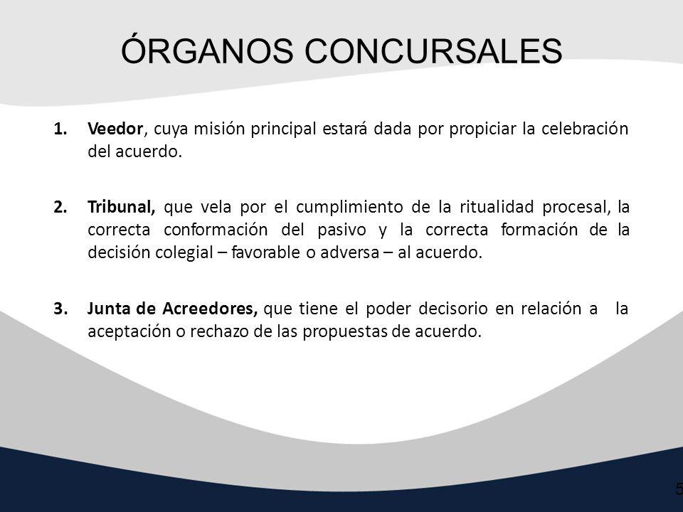 ÓRGANOS CONCURSALES Veedor, cuya misión principal estará dada por propiciar la celebración del acuerdo.
