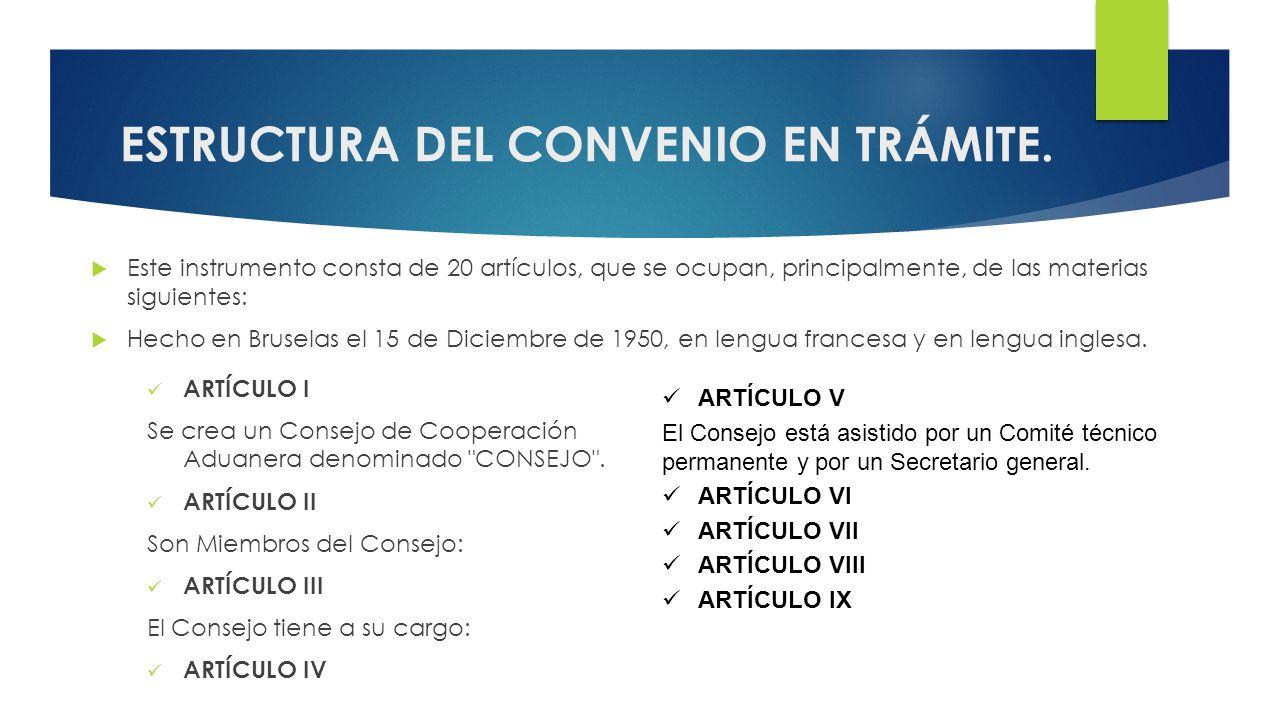 ESTRUCTURA DEL CONVENIO EN TRÁMITE.