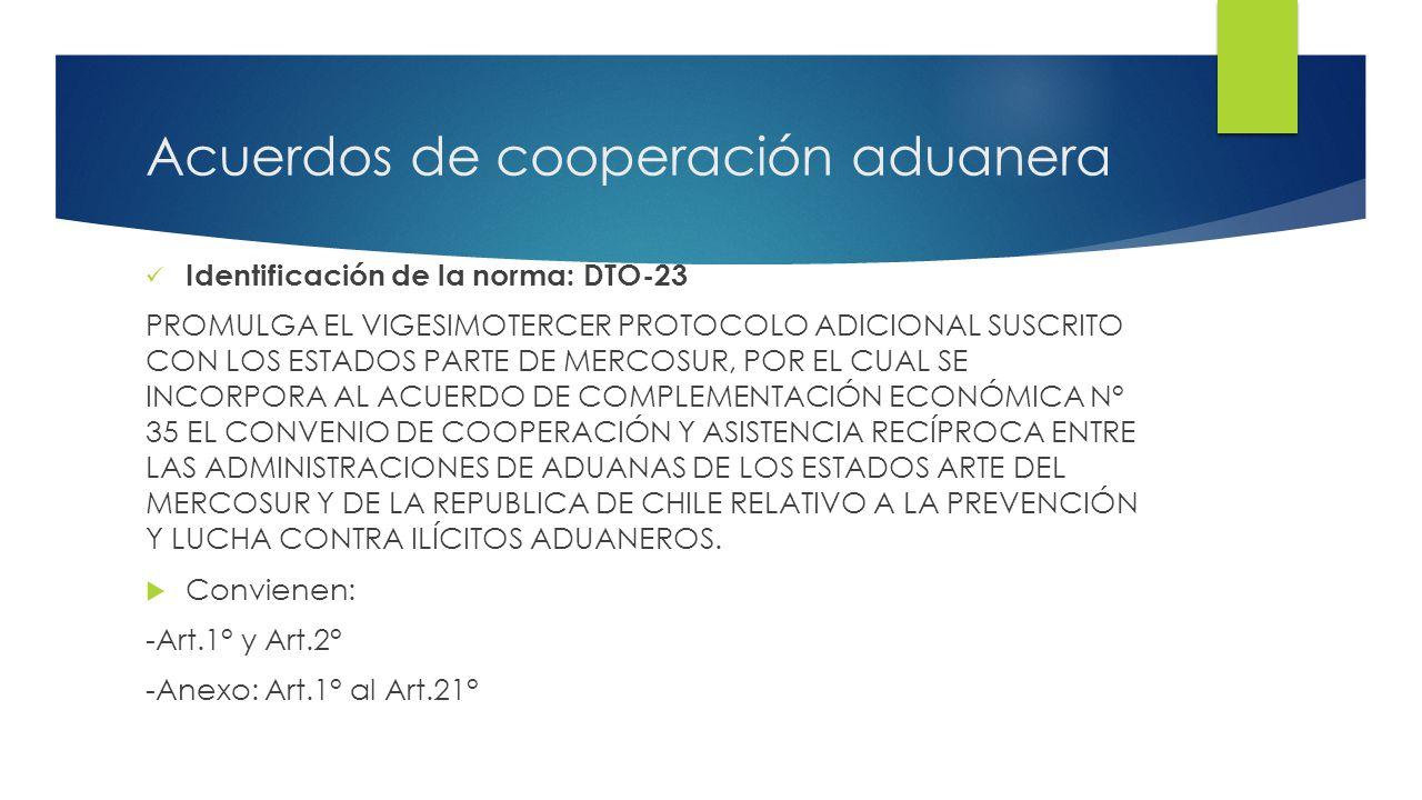 Acuerdos de cooperación aduanera