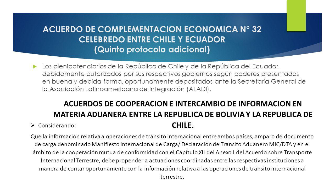 ACUERDO DE COMPLEMENTACION ECONOMICA N° 32 CELEBREDO ENTRE CHILE Y ECUADOR (Quinto protocolo adicional)