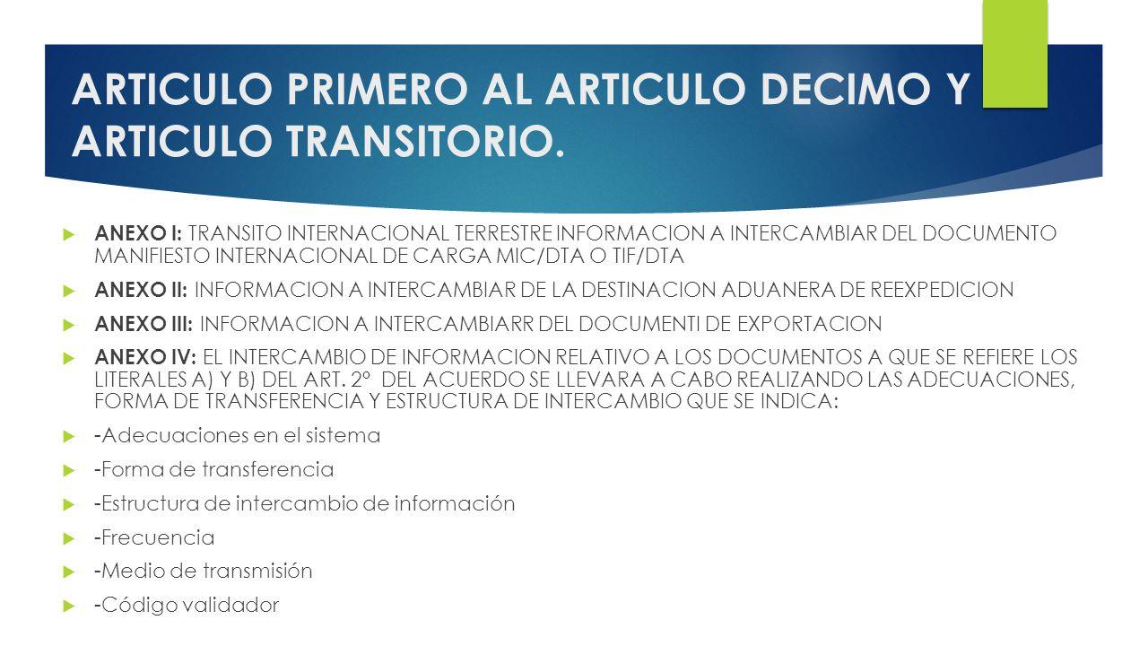 ARTICULO PRIMERO AL ARTICULO DECIMO Y ARTICULO TRANSITORIO.