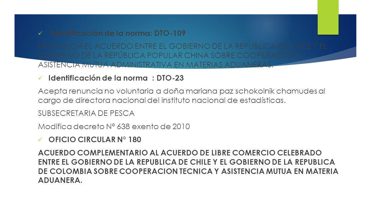 Identificación de la norma: DTO-109