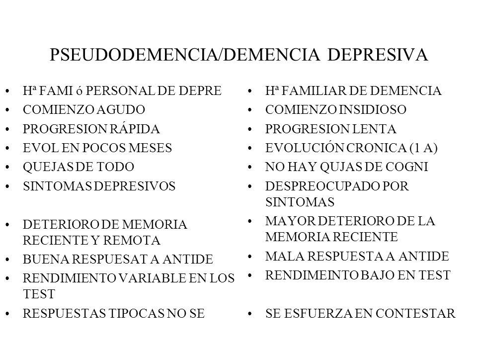 PSEUDODEMENCIA/DEMENCIA DEPRESIVA