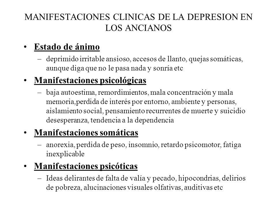 MANIFESTACIONES CLINICAS DE LA DEPRESION EN LOS ANCIANOS