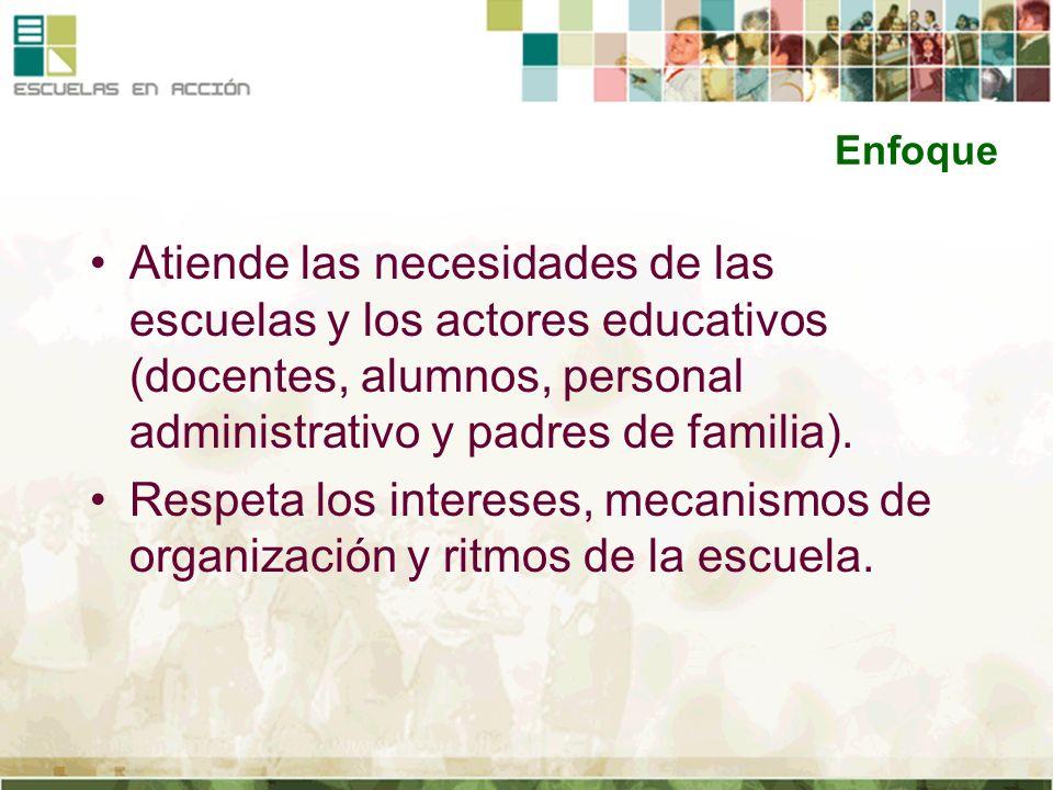 Enfoque Atiende las necesidades de las escuelas y los actores educativos (docentes, alumnos, personal administrativo y padres de familia).