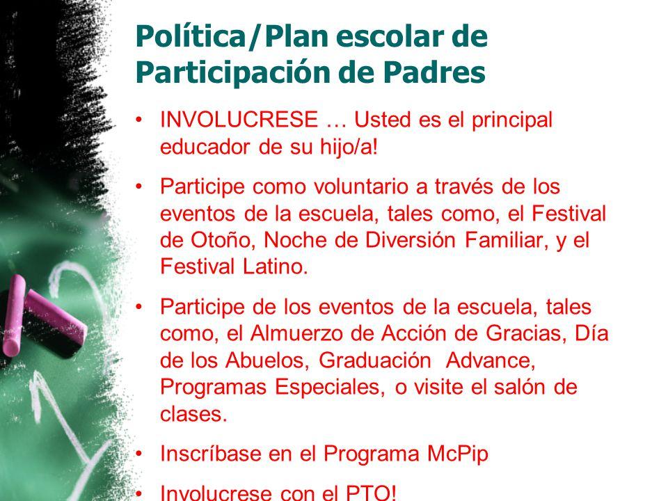 Política/Plan escolar de Participación de Padres