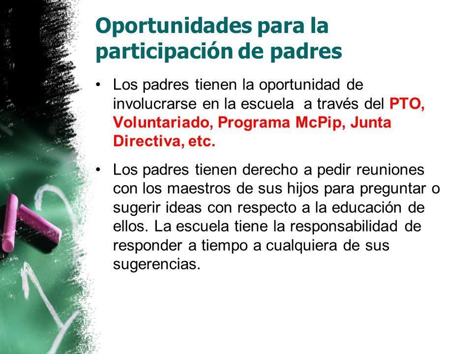 Oportunidades para la participación de padres
