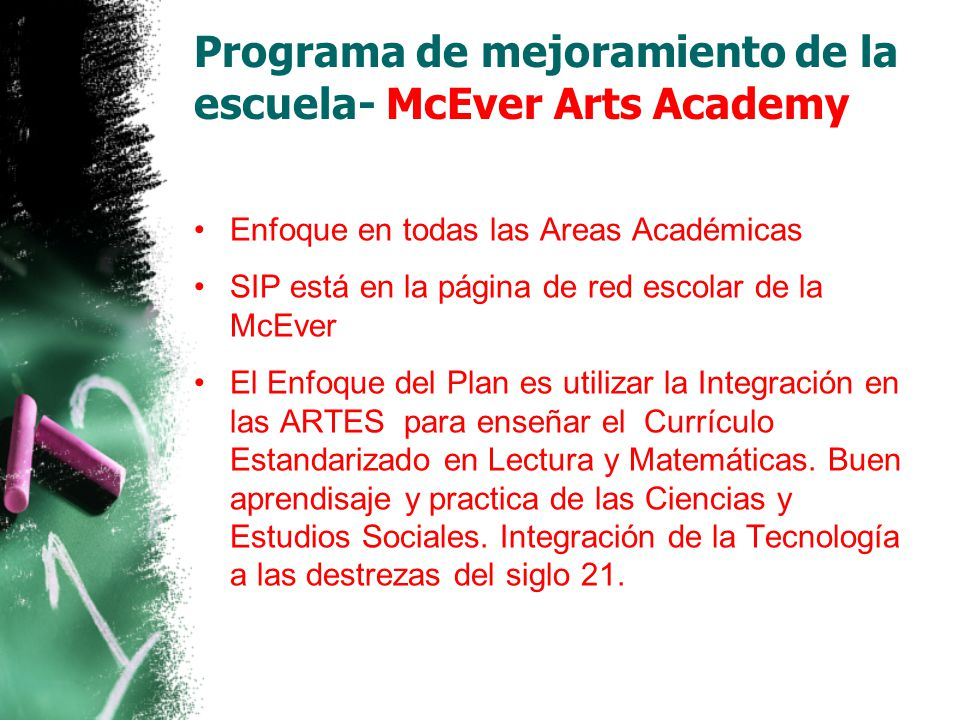 Programa de mejoramiento de la escuela- McEver Arts Academy