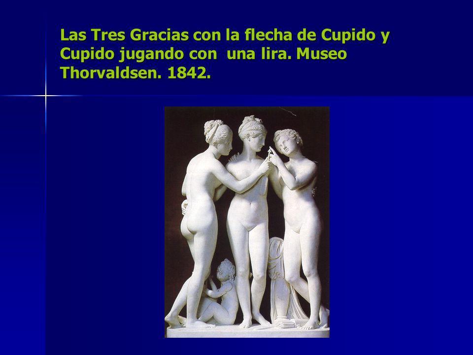 Las Tres Gracias con la flecha de Cupido y Cupido jugando con una lira