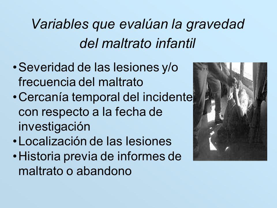 Variables que evalúan la gravedad del maltrato infantil