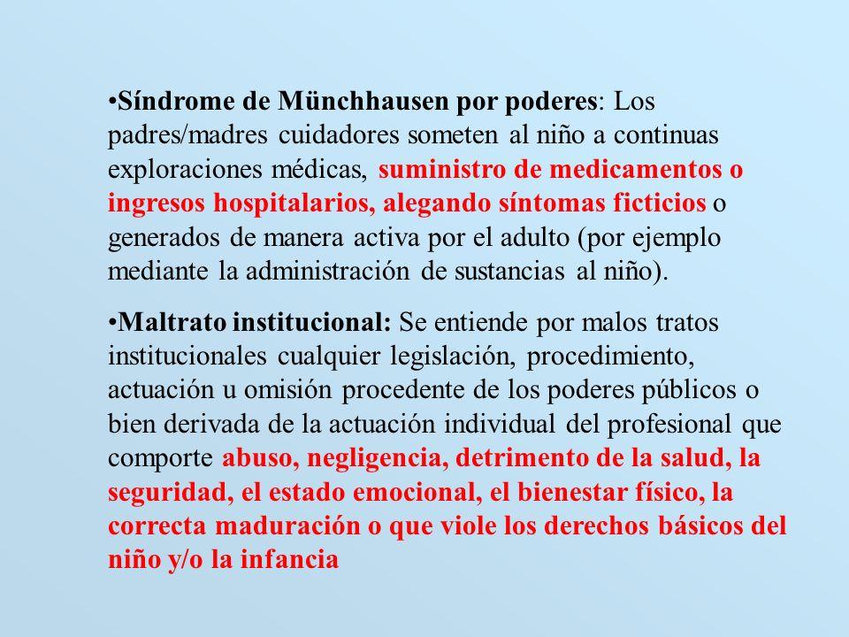 Síndrome de Münchhausen por poderes: Los padres/madres cuidadores someten al niño a continuas exploraciones médicas, suministro de medicamentos o ingresos hospitalarios, alegando síntomas ficticios o generados de manera activa por el adulto (por ejemplo mediante la administración de sustancias al niño).