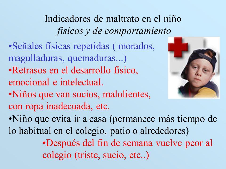 Indicadores de maltrato en el niño físicos y de comportamiento