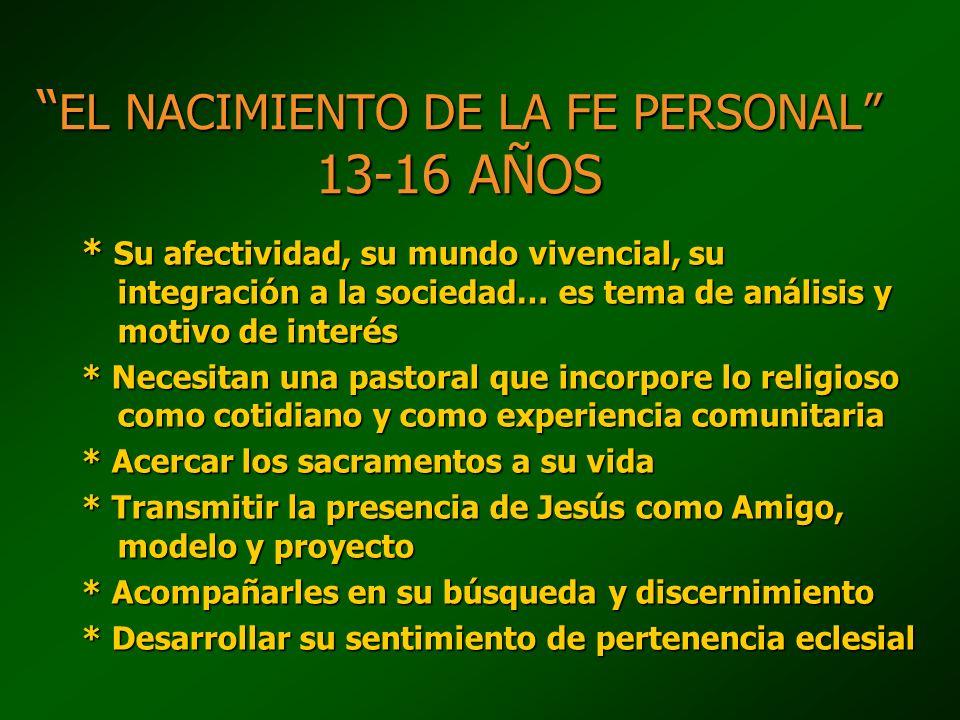 EL NACIMIENTO DE LA FE PERSONAL 13-16 AÑOS