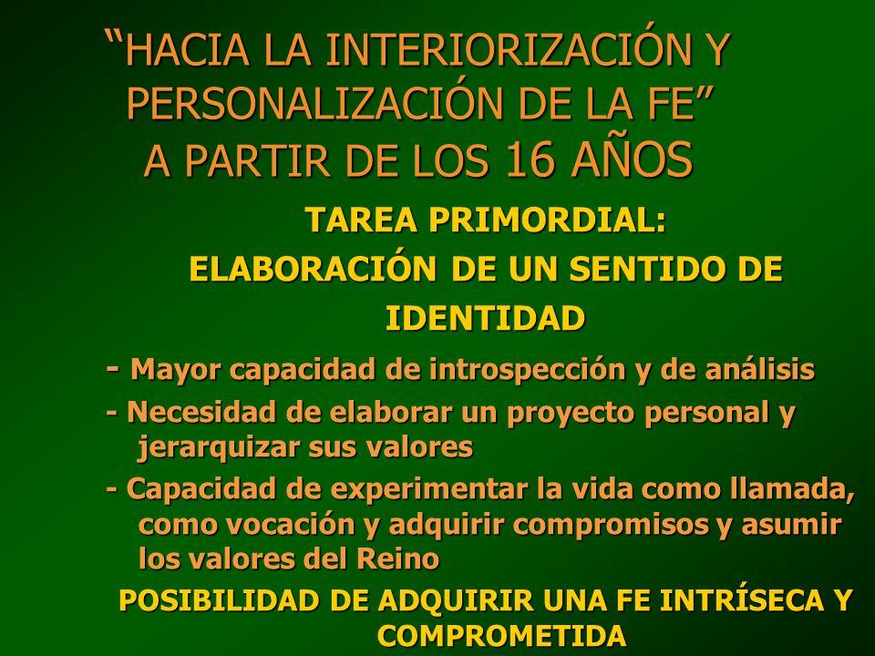 HACIA LA INTERIORIZACIÓN Y PERSONALIZACIÓN DE LA FE A PARTIR DE LOS 16 AÑOS