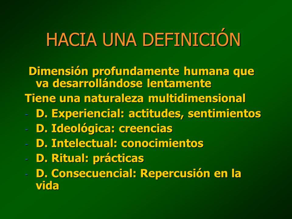 HACIA UNA DEFINICIÓN Dimensión profundamente humana que va desarrollándose lentamente. Tiene una naturaleza multidimensional.