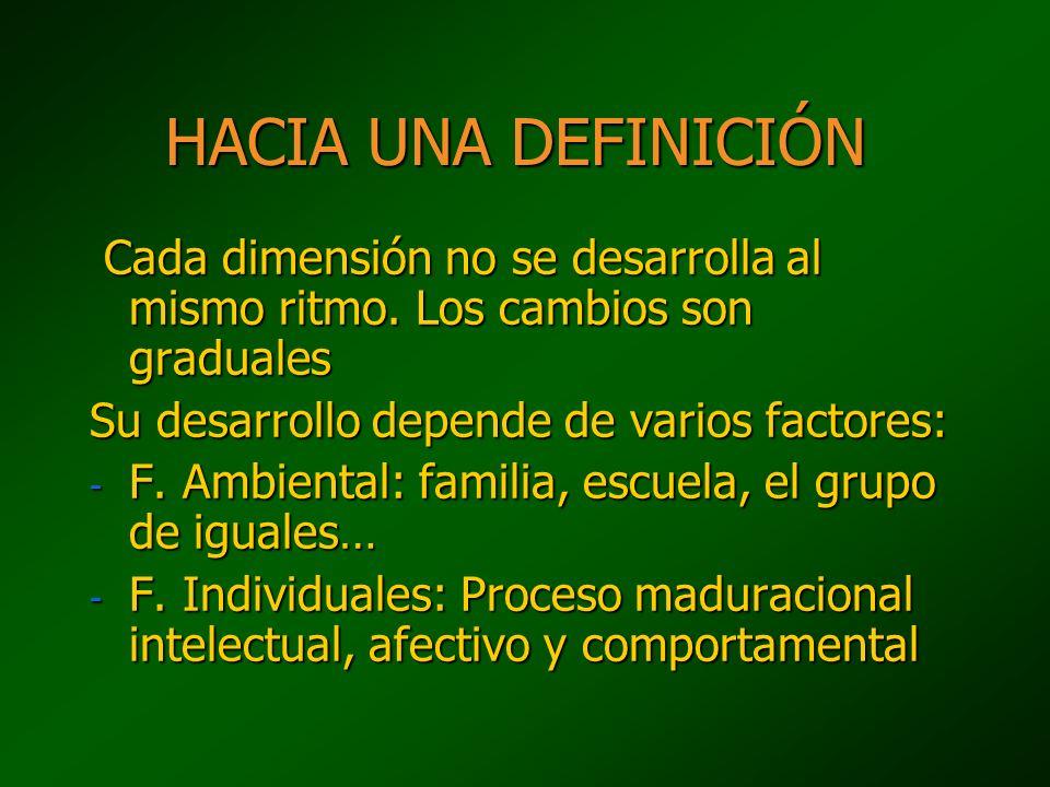 HACIA UNA DEFINICIÓN Cada dimensión no se desarrolla al mismo ritmo. Los cambios son graduales. Su desarrollo depende de varios factores: