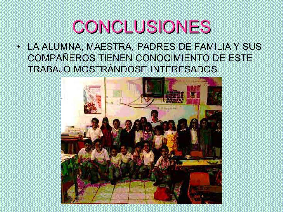 CONCLUSIONESLA ALUMNA, MAESTRA, PADRES DE FAMILIA Y SUS COMPAÑEROS TIENEN CONOCIMIENTO DE ESTE TRABAJO MOSTRÁNDOSE INTERESADOS.