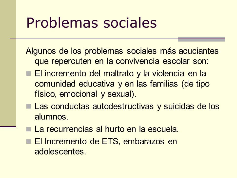 Problemas sociales Algunos de los problemas sociales más acuciantes que repercuten en la convivencia escolar son: