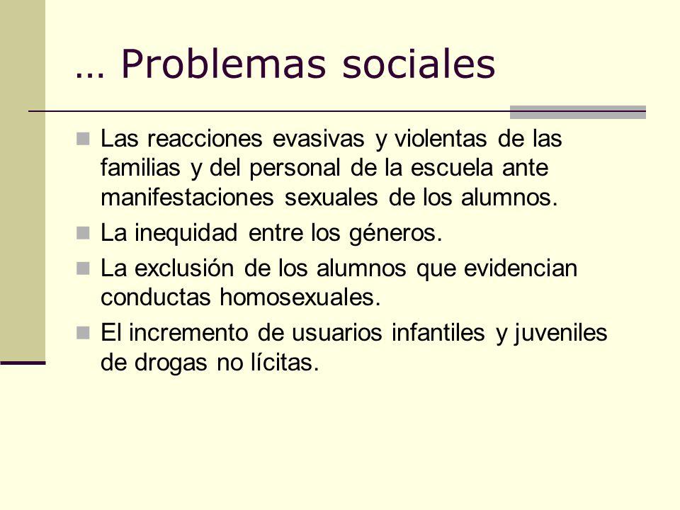 … Problemas sociales Las reacciones evasivas y violentas de las familias y del personal de la escuela ante manifestaciones sexuales de los alumnos.