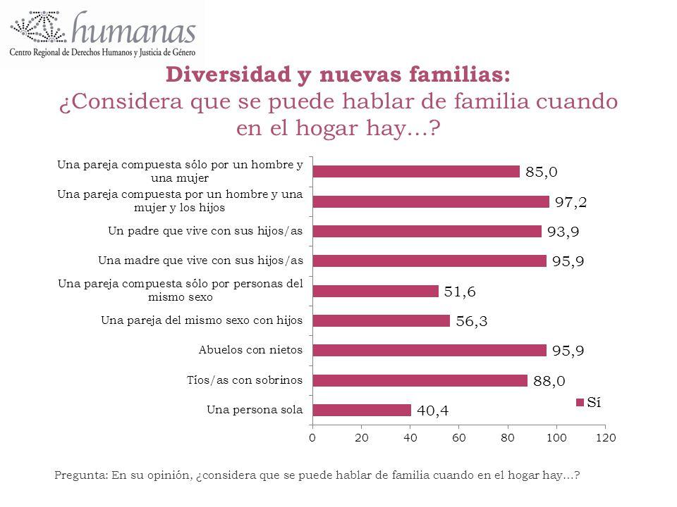 Diversidad y nuevas familias: ¿Considera que se puede hablar de familia cuando en el hogar hay…