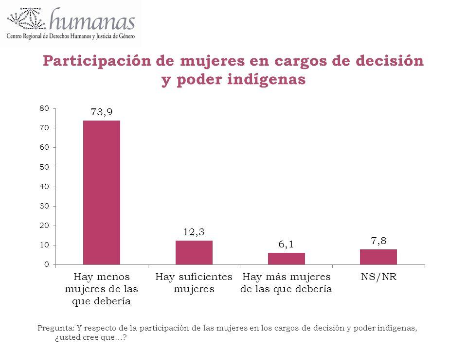 Participación de mujeres en cargos de decisión y poder indígenas