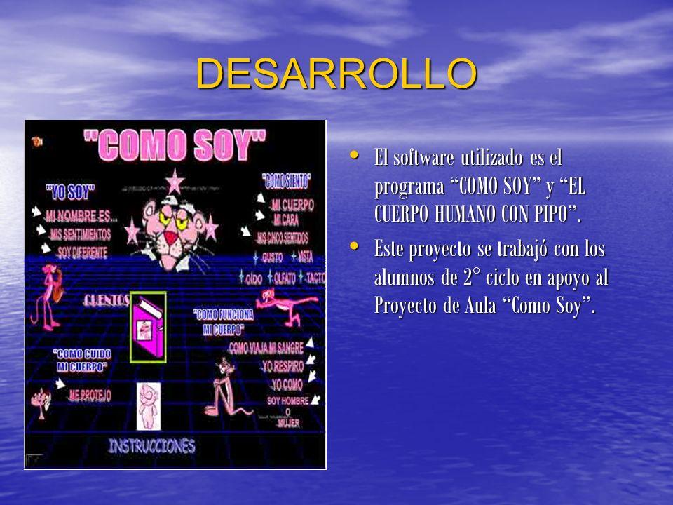 DESARROLLO El software utilizado es el programa COMO SOY y EL CUERPO HUMANO CON PIPO .