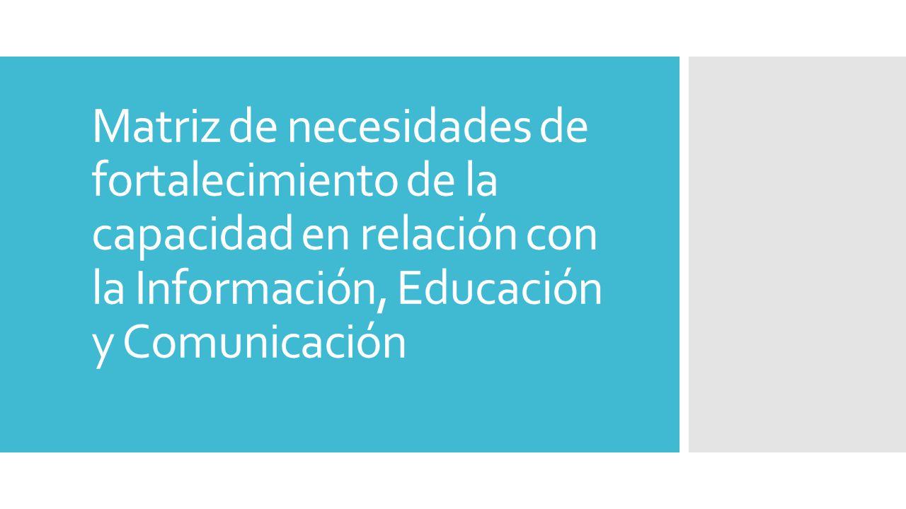 Matriz de necesidades de fortalecimiento de la capacidad en relación con la Información, Educación y Comunicación
