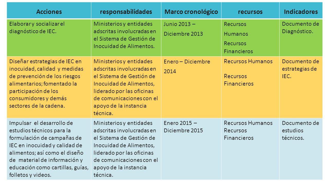 Acciones responsabilidades Marco cronológico recursos Indicadores